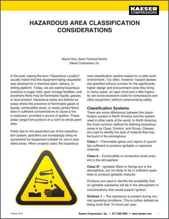 kaeser hazardous area classification considerations